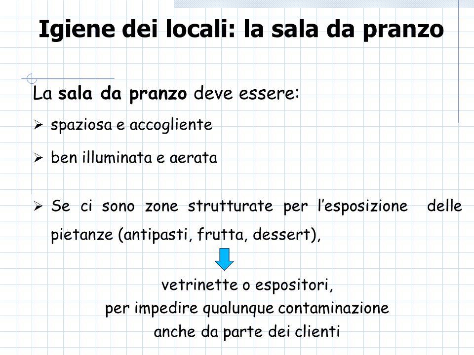 Igiene dei locali: la sala da pranzo La sala da pranzo deve essere: spaziosa e accogliente ben illuminata e aerata Se ci sono zone strutturate per les