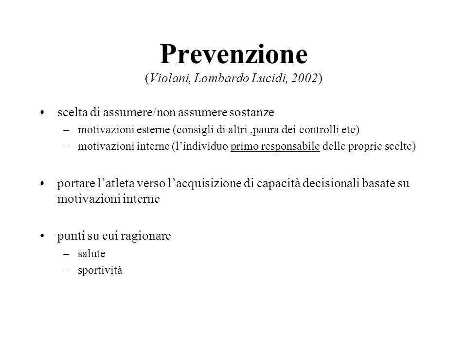 Prevenzione (Violani, Lombardo Lucidi, 2002) scelta di assumere/non assumere sostanze –motivazioni esterne (consigli di altri,paura dei controlli etc)