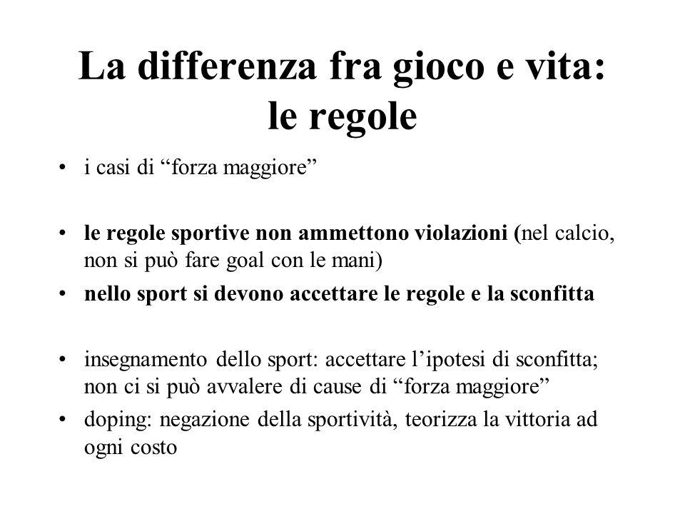 La differenza fra gioco e vita: le regole i casi di forza maggiore le regole sportive non ammettono violazioni (nel calcio, non si può fare goal con l
