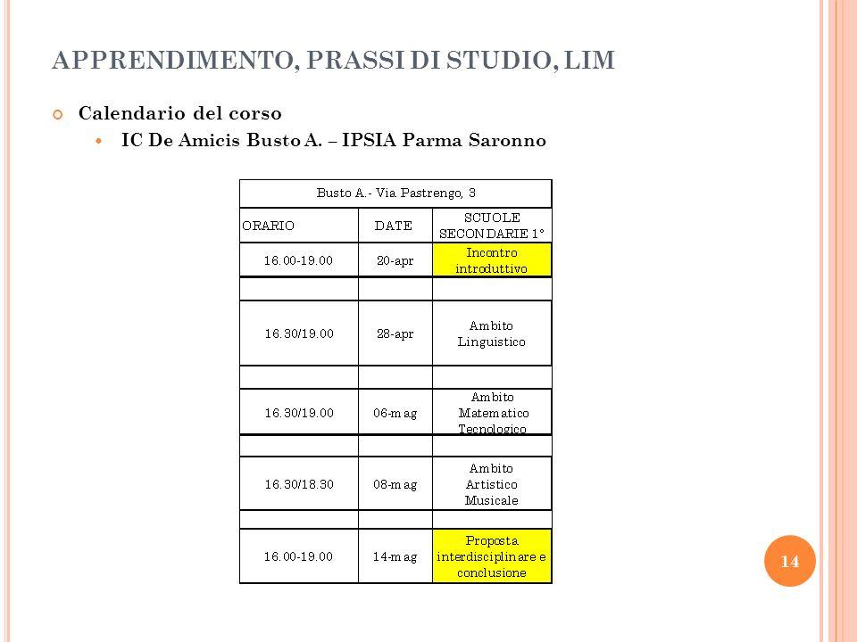 15 Calendario del corso SM Ponti L.