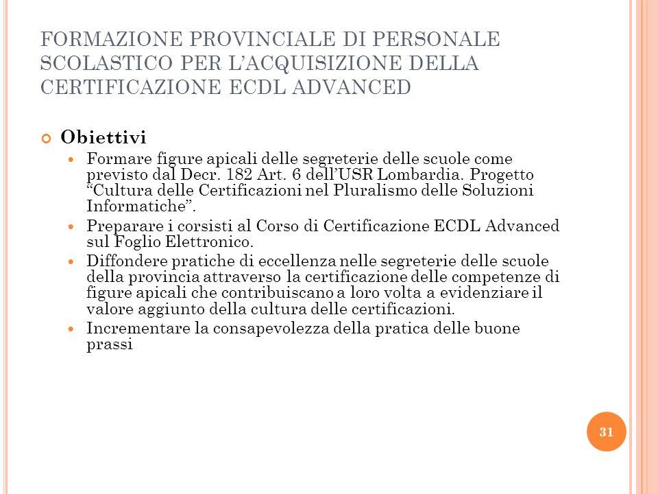 32 Destinatari del corso: Personale Amministrativo degli Istituti Statali Numero massimo di partecipanti 25.