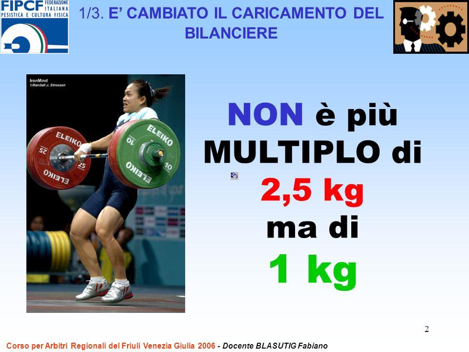 2 NON è più MULTIPLO di 2,5 kg ma di 1 kg Corso per Arbitri Regionali del Friuli Venezia Giulia 2006 - Docente BLASUTIG Fabiano 1/3. E CAMBIATO IL CAR