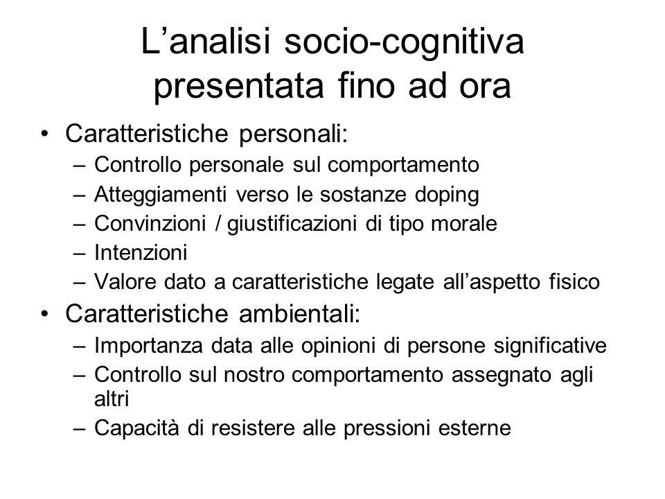 Caratteristiche personali: –Controllo personale sul comportamento –Atteggiamenti verso le sostanze doping –Convinzioni / giustificazioni di tipo moral