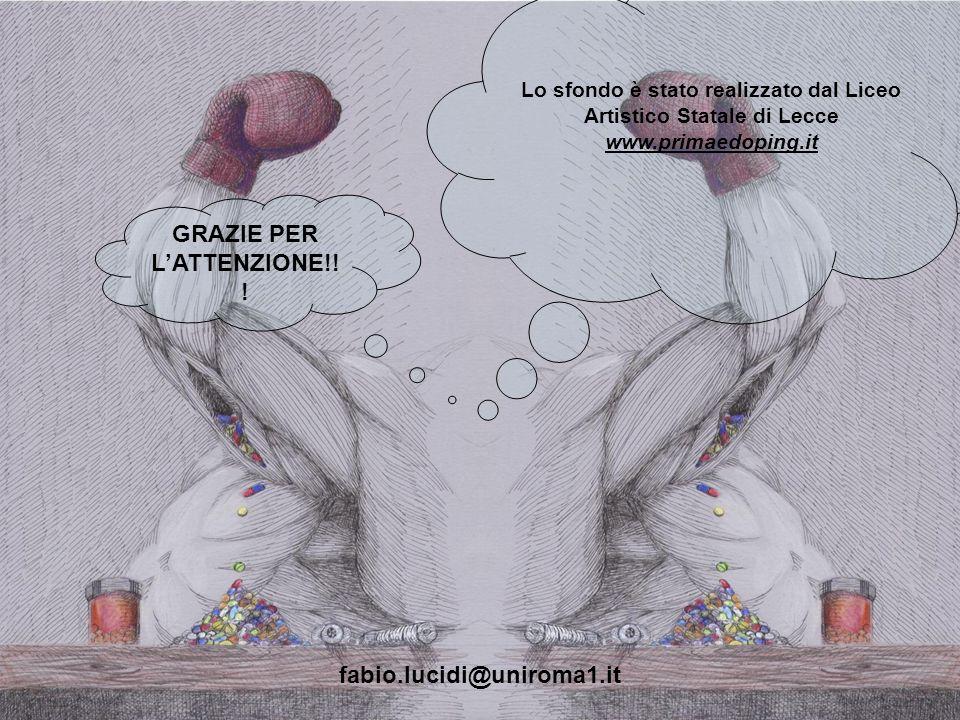 Lo sfondo è stato realizzato dal Liceo Artistico Statale di Lecce www.primaedoping.it GRAZIE PER LATTENZIONE!! ! fabio.lucidi@uniroma1.it
