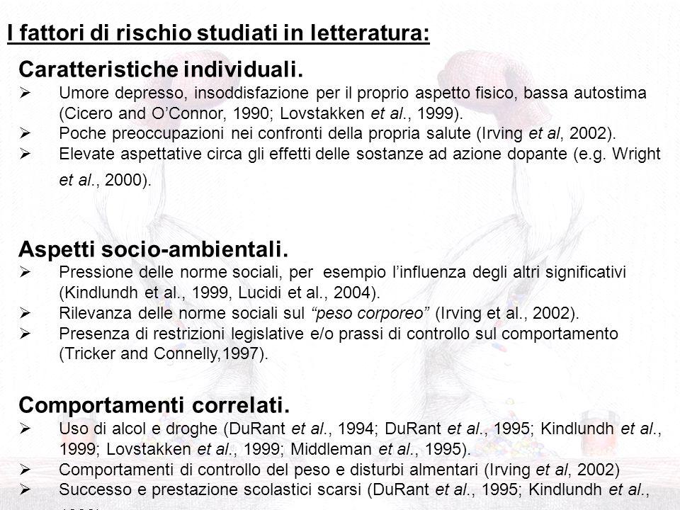 I fattori di rischio studiati in letteratura: Caratteristiche individuali. Umore depresso, insoddisfazione per il proprio aspetto fisico, bassa autost