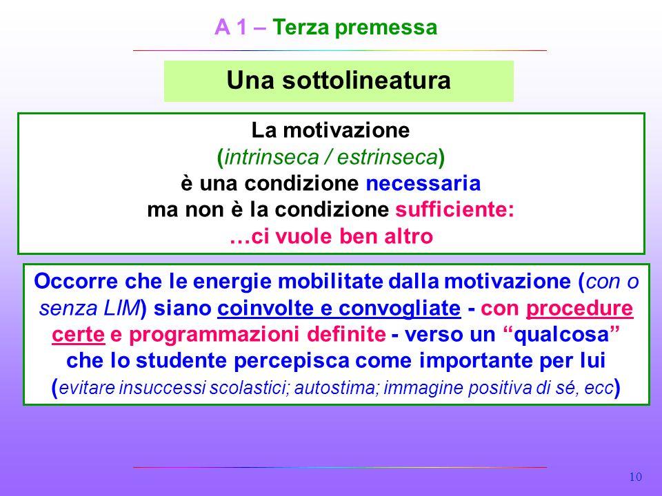 10 Una sottolineatura La motivazione (intrinseca / estrinseca) è una condizione necessaria ma non è la condizione sufficiente: …ci vuole ben altro Occ