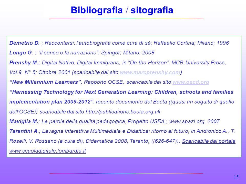 15 Bibliografia / sitografia Demetrio D. ; Raccontarsi: lautobiografia come cura di sé; Raffaello Cortina; Milano; 1996 Longo G. : il senso e la narra