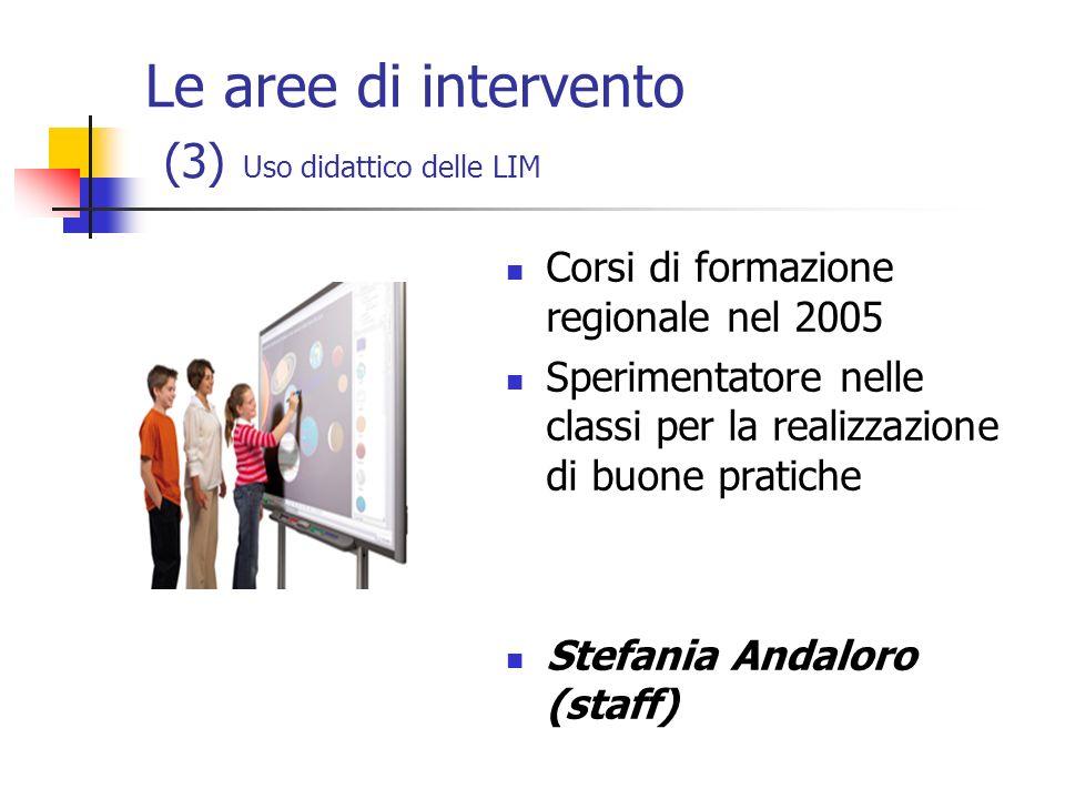Le aree di intervento (3) Uso didattico delle LIM Corsi di formazione regionale nel 2005 Sperimentatore nelle classi per la realizzazione di buone pra