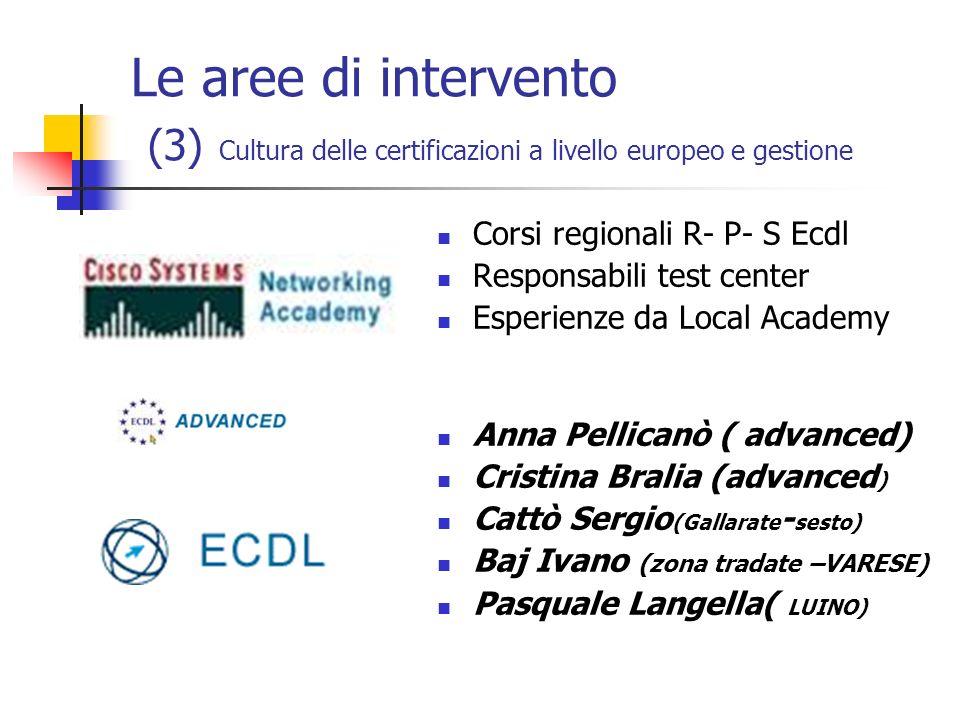 Le aree di intervento (3) Cultura delle certificazioni a livello europeo e gestione Corsi regionali R- P- S Ecdl Responsabili test center Esperienze d