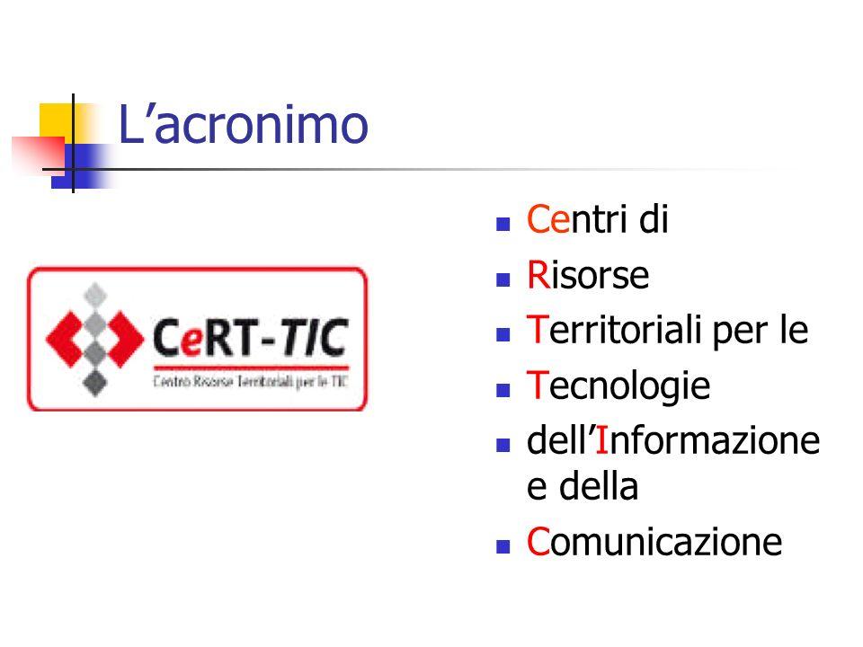 Centri di Risorse Territoriali per le Tecnologie dellInformazione e della Comunicazione Lacronimo