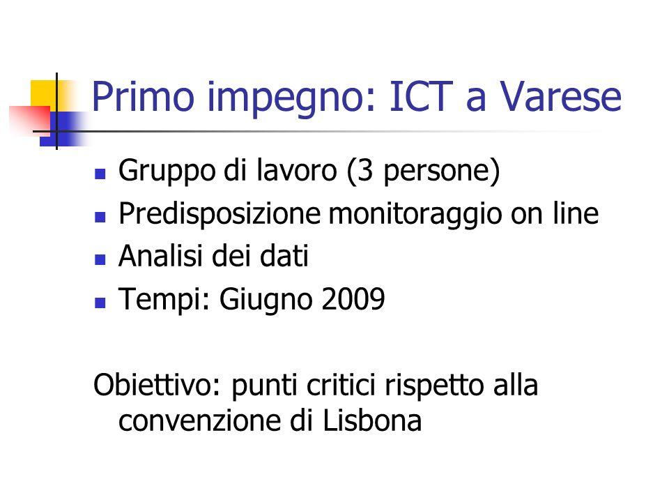 Primo impegno: ICT a Varese Gruppo di lavoro (3 persone) Predisposizione monitoraggio on line Analisi dei dati Tempi: Giugno 2009 Obiettivo: punti cri
