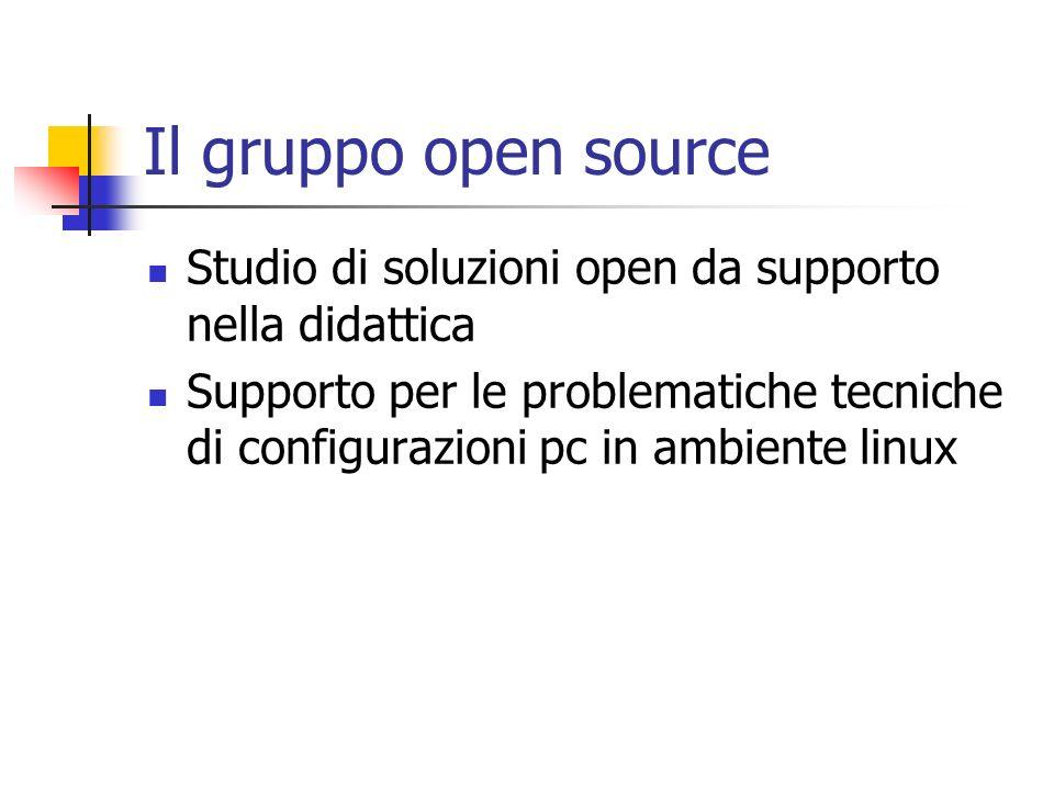 Il gruppo open source Studio di soluzioni open da supporto nella didattica Supporto per le problematiche tecniche di configurazioni pc in ambiente lin