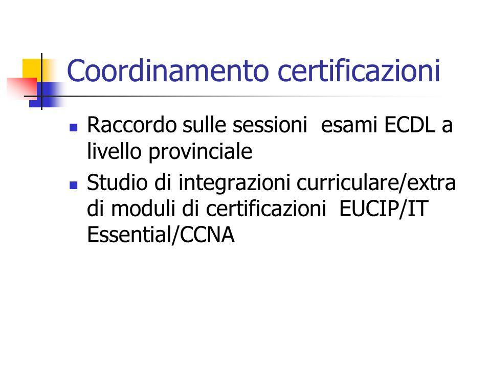 Coordinamento certificazioni Raccordo sulle sessioni esami ECDL a livello provinciale Studio di integrazioni curriculare/extra di moduli di certificaz