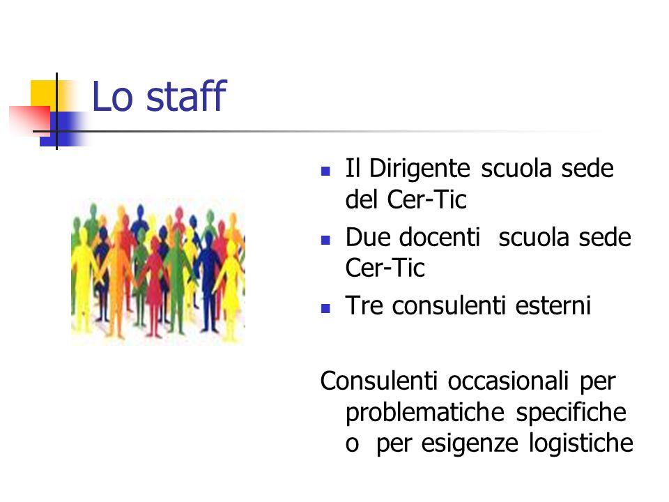 Lo staff Il Dirigente scuola sede del Cer-Tic Due docenti scuola sede Cer-Tic Tre consulenti esterni Consulenti occasionali per problematiche specific