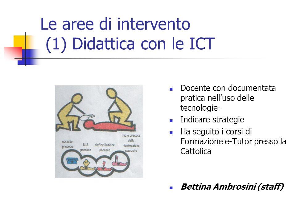 Le aree di intervento (1) Didattica con le ICT Docente con documentata pratica nelluso delle tecnologie- Indicare strategie Ha seguito i corsi di Form