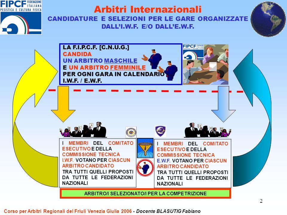 2 Arbitri Internazionali CANDIDATURE E SELEZIONI PER LE GARE ORGANIZZATE DALLI.W.F.