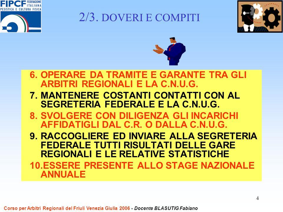 5 a TUTTI per lattenzione ed ARRIVEDERCI GRAZIE GLI ARBITRI SONO CONTRO TUTTI I DOPING Corso per Arbitri Regionali del Friuli Venezia Giulia 2006 - Docente BLASUTIG Fabiano