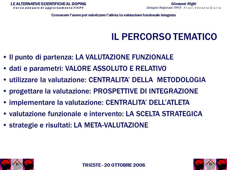 LE ALTERNATIVE SCIENTIFICHE AL DOPING C o r s o a n n u a l e d i a g g i o r n a m e n t o F I C P F Giovanni Righi Delegato Regionale FIPCF - F r i u l i V e n e z i a G i u l i a TRIESTE - 20 OTTOBRE 2006 Il punto di partenza: LA VALUTAZIONE FUNZIONALE Conoscere luomo per valorizzare latleta: la valutazione funzionale integrata dati e parametri: VALORE ASSOLUTO E RELATIVO utilizzare la valutazione: CENTRALITA DELLA METODOLOGIA progettare la valutazione: PROSPETTIVE DI INTEGRAZIONE implementare la valutazione: CENTRALITA DELLATLETA valutazione funzionale e intervento: LA SCELTA STRATEGICA strategie e risultati: LA META-VALUTAZIONE IL PERCORSO TEMATICO