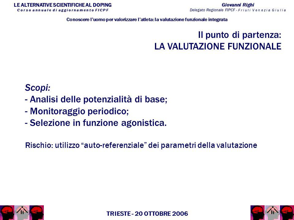 LE ALTERNATIVE SCIENTIFICHE AL DOPING C o r s o a n n u a l e d i a g g i o r n a m e n t o F I C P F Giovanni Righi Delegato Regionale FIPCF - F r i u l i V e n e z i a G i u l i a TRIESTE - 20 OTTOBRE 2006 Il punto di partenza: LA VALUTAZIONE FUNZIONALE Conoscere luomo per valorizzare latleta: la valutazione funzionale integrata Scopi: - Analisi delle potenzialità di base; - Monitoraggio periodico; - Selezione in funzione agonistica.