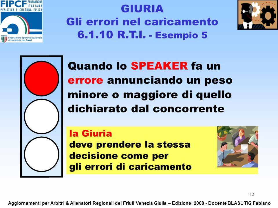 12 Quando lo SPEAKER fa un errore annunciando un peso minore o maggiore di quello dichiarato dal concorrente la Giuria deve prendere la stessa decisio
