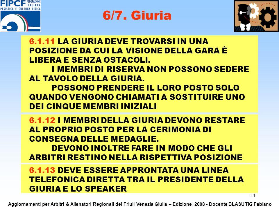 14 6/7. Giuria Aggiornamenti per Arbitri & Allenatori Regionali del Friuli Venezia Giulia – Edizione 2008 - Docente BLASUTIG Fabiano 6.1.11 LA GIURIA