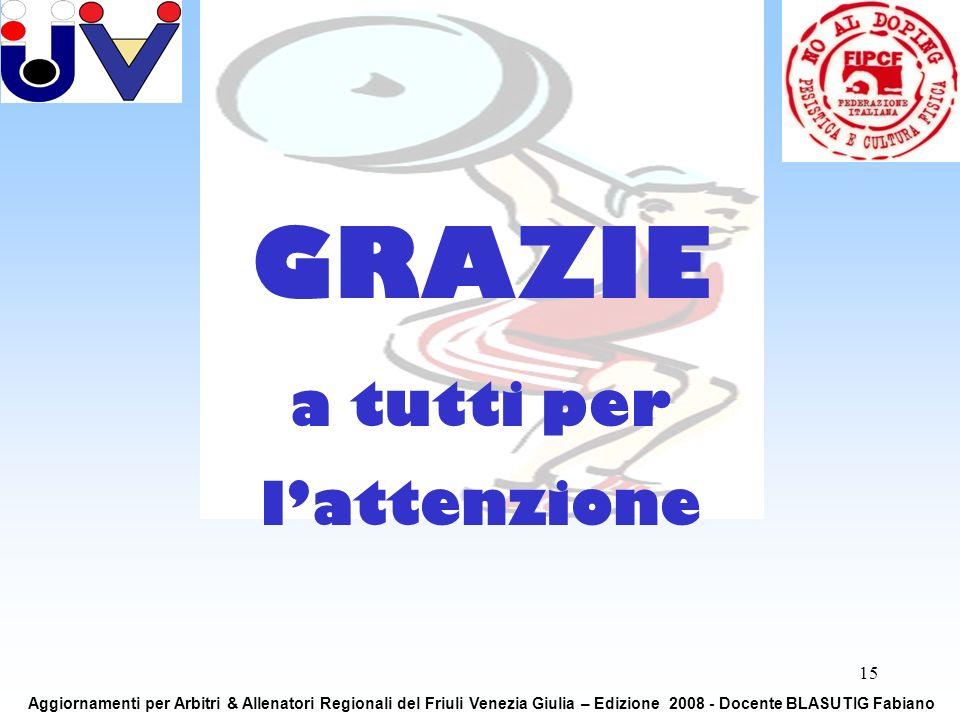 15 GRAZIE a tutti per lattenzione Aggiornamenti per Arbitri & Allenatori Regionali del Friuli Venezia Giulia – Edizione 2008 - Docente BLASUTIG Fabiano