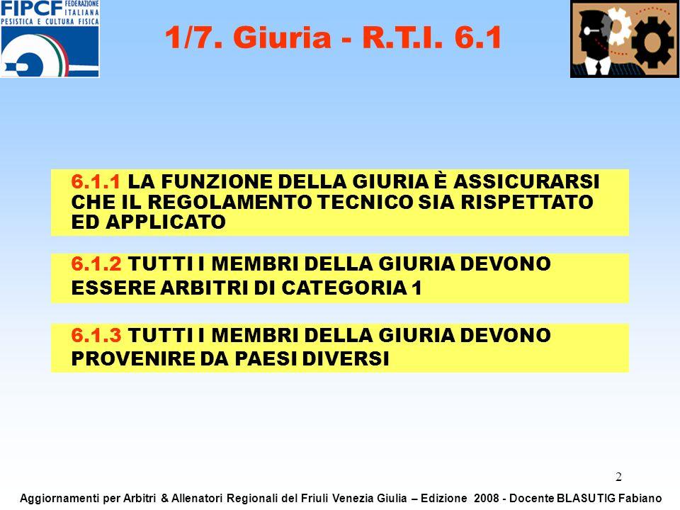 2 6.1.1 LA FUNZIONE DELLA GIURIA È ASSICURARSI CHE IL REGOLAMENTO TECNICO SIA RISPETTATO ED APPLICATO 1/7. Giuria - R.T.I. 6.1 Aggiornamenti per Arbit