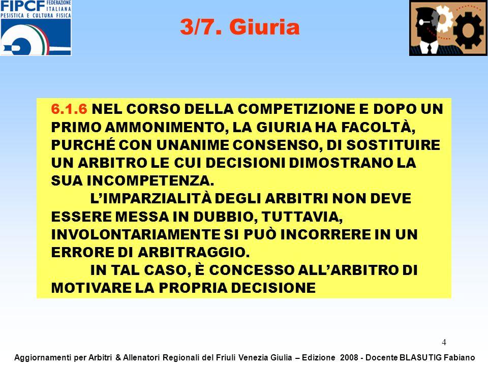 4 3/7. Giuria Aggiornamenti per Arbitri & Allenatori Regionali del Friuli Venezia Giulia – Edizione 2008 - Docente BLASUTIG Fabiano 6.1.6 NEL CORSO DE