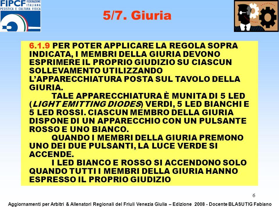 6 5/7. Giuria Aggiornamenti per Arbitri & Allenatori Regionali del Friuli Venezia Giulia – Edizione 2008 - Docente BLASUTIG Fabiano 6.1.9 PER POTER AP