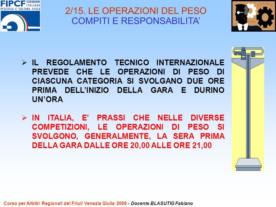 IL REGOLAMENTO TECNICO INTERNAZIONALE PREVEDE CHE LE OPERAZIONI DI PESO DI CIASCUNA CATEGORIA SI SVOLGANO DUE ORE PRIMA DELLINIZIO DELLA GARA E DURINO UNORA IN ITALIA, E PRASSI CHE NELLE DIVERSE COMPETIZIONI, LE OPERAZIONI DI PESO SI SVOLGONO, GENERALMENTE, LA SERA PRIMA DELLA GARA DALLE ORE 20,00 ALLE ORE 21,00 2/15.