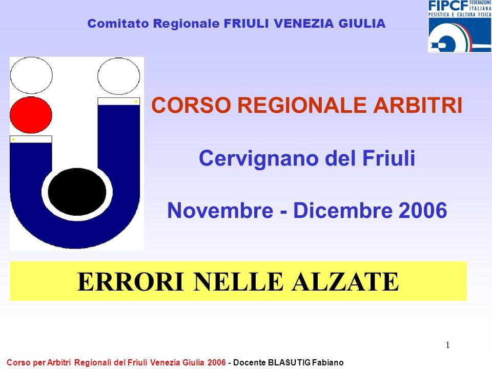 1 CORSO REGIONALE ARBITRI Cervignano del Friuli Novembre - Dicembre 2006 Comitato Regionale FRIULI VENEZIA GIULIA Corso per Arbitri Regionali del Friuli Venezia Giulia 2006 - Docente BLASUTIG Fabiano ERRORI NELLE ALZATE
