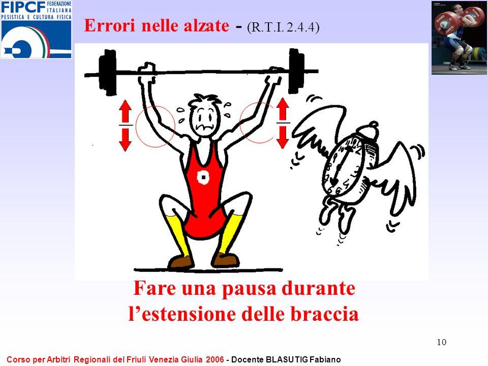 10 Errori nelle alzate - (R.T.I. 2.4.4) Fare una pausa durante lestensione delle braccia Corso per Arbitri Regionali del Friuli Venezia Giulia 2006 -