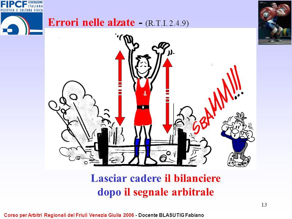 13 Errori nelle alzate - (R.T.I. 2.4.9) Lasciar cadere il bilanciere dopo il segnale arbitrale Corso per Arbitri Regionali del Friuli Venezia Giulia 2