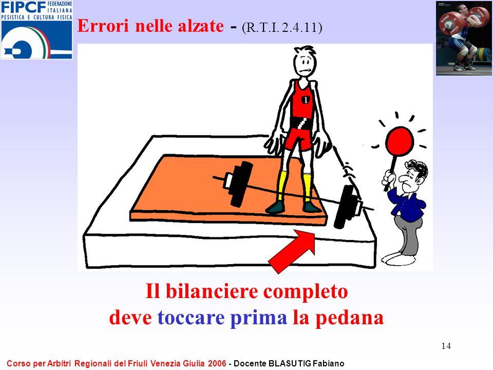 14 Errori nelle alzate - (R.T.I. 2.4.11) Il bilanciere completo deve toccare prima la pedana Corso per Arbitri Regionali del Friuli Venezia Giulia 200