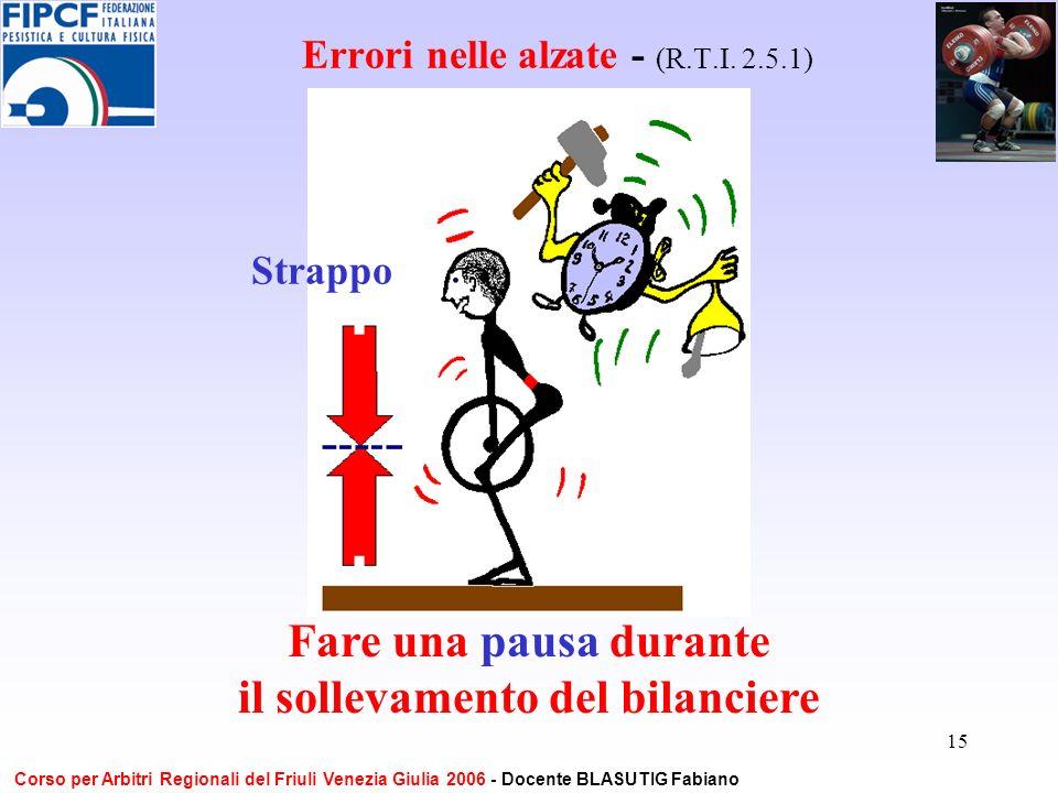 15 Errori nelle alzate - (R.T.I. 2.5.1) Fare una pausa durante il sollevamento del bilanciere Strappo Corso per Arbitri Regionali del Friuli Venezia G