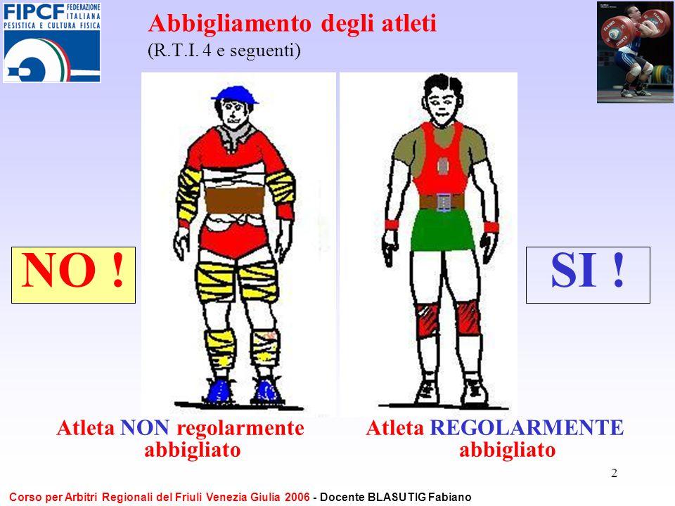 2 Abbigliamento degli atleti (R.T.I. 4 e seguenti) Atleta NON regolarmente abbigliato NO !SI ! Atleta REGOLARMENTE abbigliato Corso per Arbitri Region