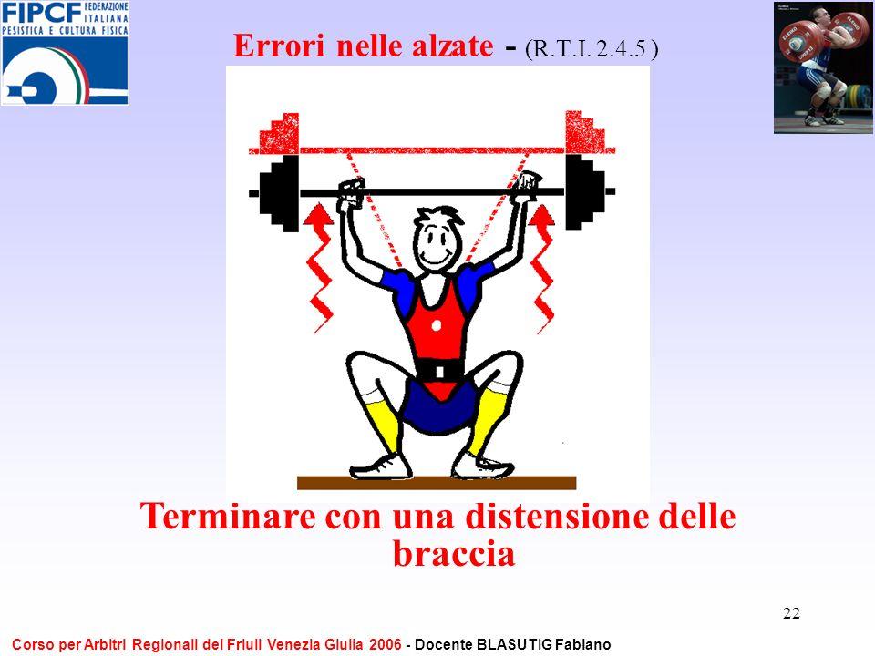 22 Errori nelle alzate - (R.T.I. 2.4.5 ) Terminare con una distensione delle braccia Corso per Arbitri Regionali del Friuli Venezia Giulia 2006 - Doce