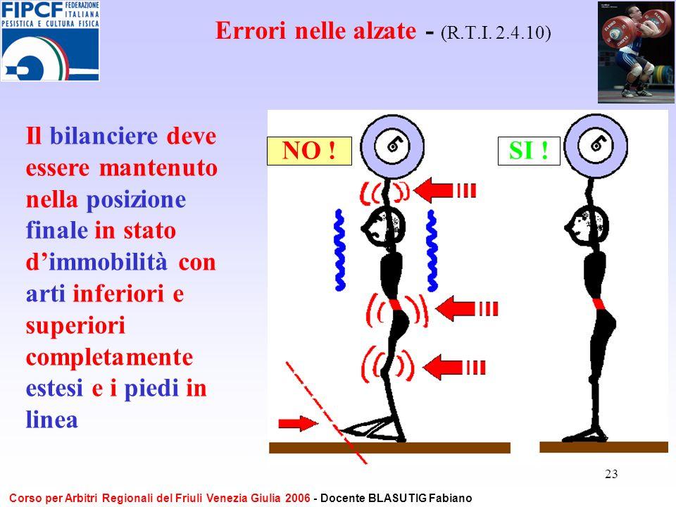 23 Errori nelle alzate - (R.T.I. 2.4.10) Il bilanciere deve essere mantenuto nella posizione finale in stato dimmobilità con arti inferiori e superior