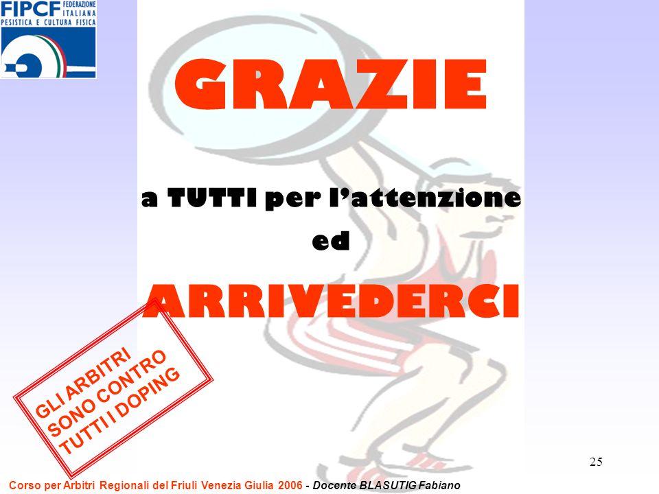 25 a TUTTI per lattenzione ed ARRIVEDERCI GRAZIE GLI ARBITRI SONO CONTRO TUTTI I DOPING Corso per Arbitri Regionali del Friuli Venezia Giulia 2006 - D