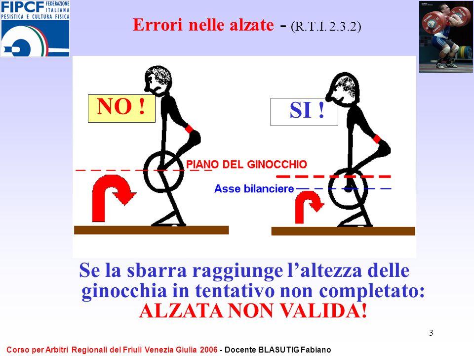 3 Errori nelle alzate - (R.T.I. 2.3.2) Se la sbarra raggiunge laltezza delle ginocchia in tentativo non completato: ALZATA NON VALIDA! NO ! SI ! Corso