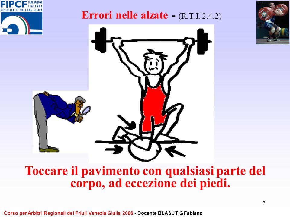7 Errori nelle alzate - (R.T.I. 2.4.2) Toccare il pavimento con qualsiasi parte del corpo, ad eccezione dei piedi. Corso per Arbitri Regionali del Fri
