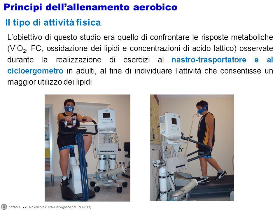 Lobiettivo di questo studio era quello di confrontare le risposte metaboliche (VO 2, FC, ossidazione dei lipidi e concentrazioni di acido lattico) oss