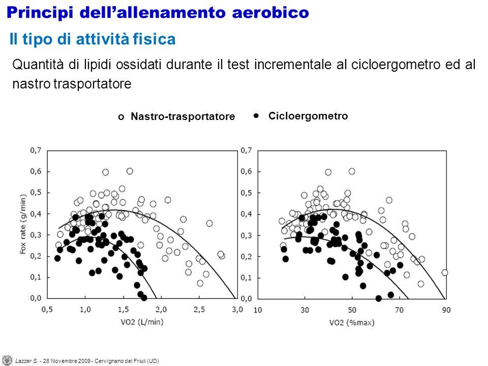 Quantità di lipidi ossidati durante il test incrementale al cicloergometro ed al nastro trasportatore Il tipo di attività fisica Principi dellallename