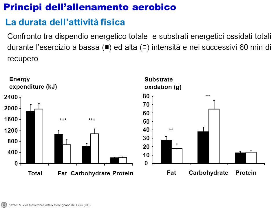 Confronto tra dispendio energetico totale e substrati energetici ossidati totali durante lesercizio a bassa ( ) ed alta ( ) intensità e nei successivi