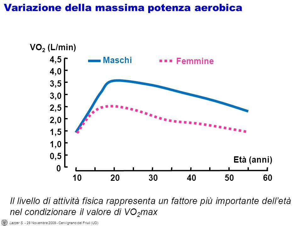 Il livello di attività fisica rappresenta un fattore più importante delletà nel condizionare il valore di VO 2 max 0 1,0 1,5 2,5 3,5 4,5 VO 2 (L/min)