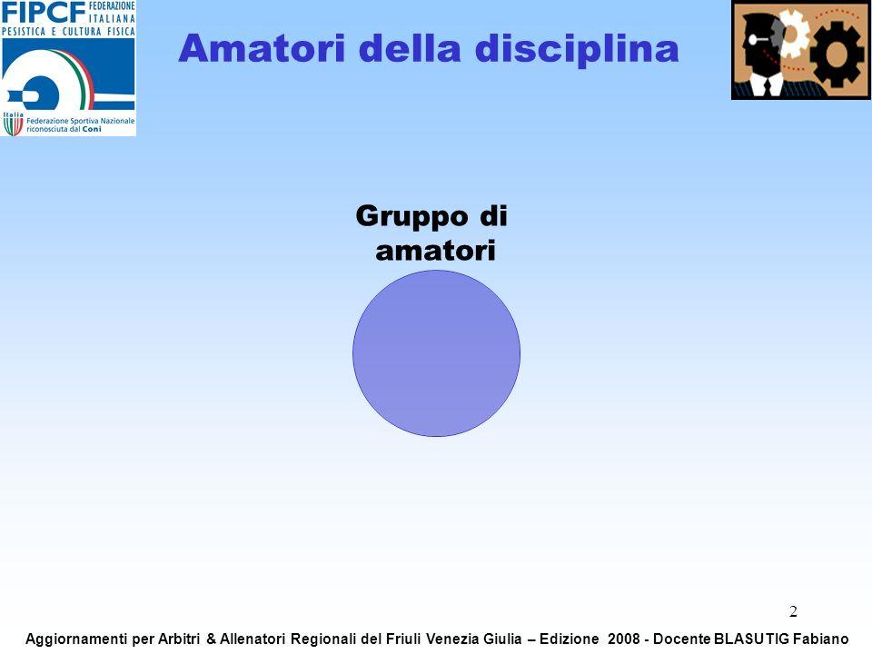 2 Amatori della disciplina Gruppo di amatori Aggiornamenti per Arbitri & Allenatori Regionali del Friuli Venezia Giulia – Edizione 2008 - Docente BLASUTIG Fabiano