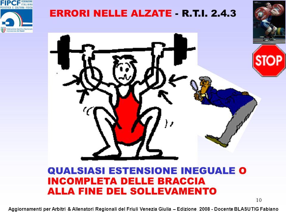 10 QUALSIASI ESTENSIONE INEGUALE O INCOMPLETA DELLE BRACCIA ALLA FINE DEL SOLLEVAMENTO ERRORI NELLE ALZATE - R.T.I. 2.4.3 Aggiornamenti per Arbitri &