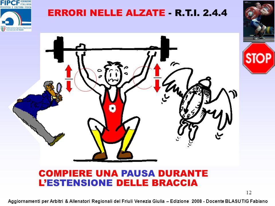 12 COMPIERE UNA PAUSA DURANTE LESTENSIONE DELLE BRACCIA ERRORI NELLE ALZATE - R.T.I. 2.4.4 Aggiornamenti per Arbitri & Allenatori Regionali del Friuli