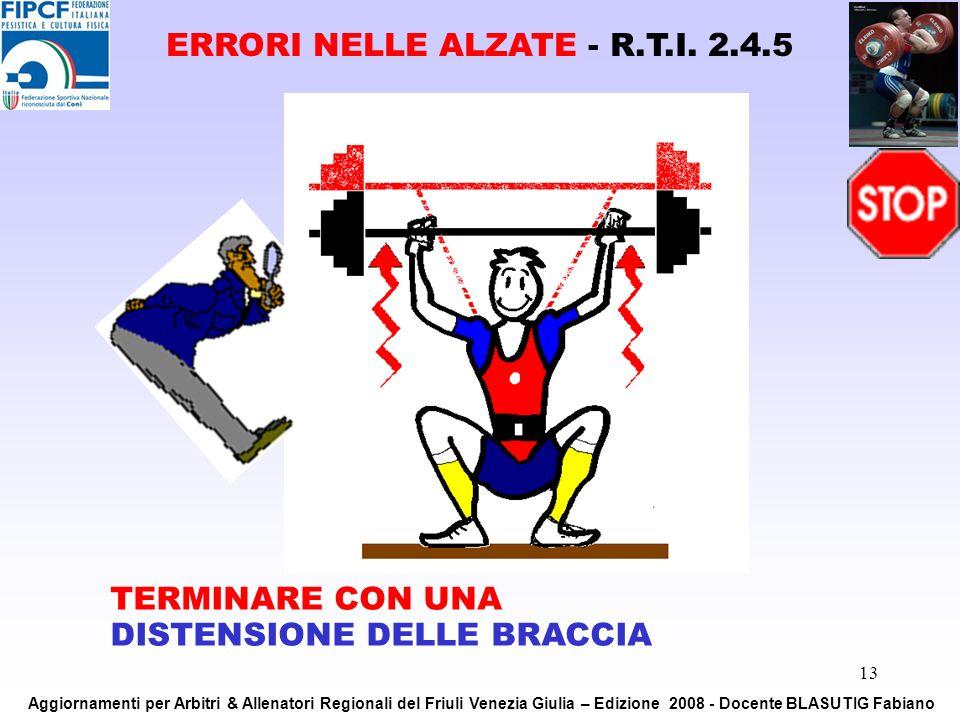 13 TERMINARE CON UNA DISTENSIONE DELLE BRACCIA ERRORI NELLE ALZATE - R.T.I. 2.4.5 Aggiornamenti per Arbitri & Allenatori Regionali del Friuli Venezia