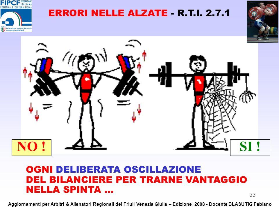 22 OGNI DELIBERATA OSCILLAZIONE DEL BILANCIERE PER TRARNE VANTAGGIO NELLA SPINTA … NO !SI ! ERRORI NELLE ALZATE - R.T.I. 2.7.1 Aggiornamenti per Arbit